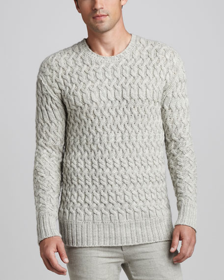 Wool-Blend Cable Sweater