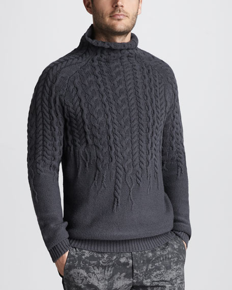 Mock-Neck Cable Sweater
