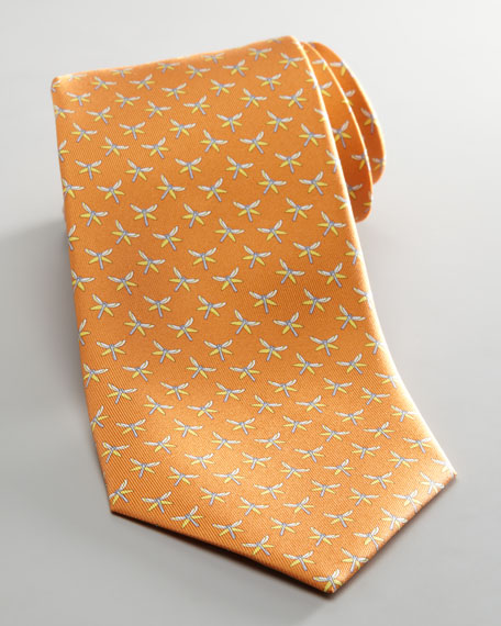 Dragonfly Jacquard Tie, Orange