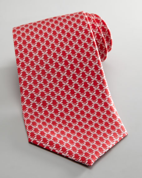 Butterfly Jacquard Tie, Red