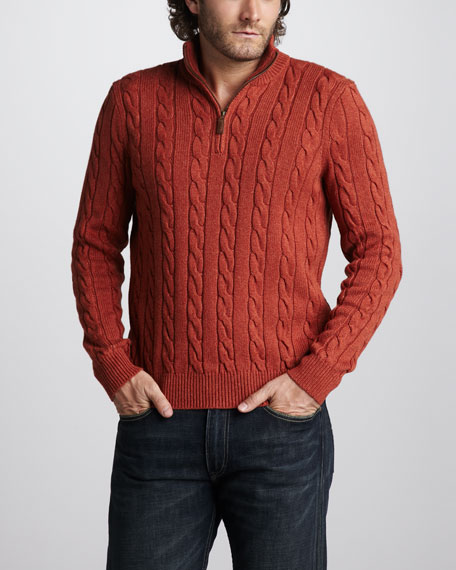 Half-Zip Cable Sweater, Orange