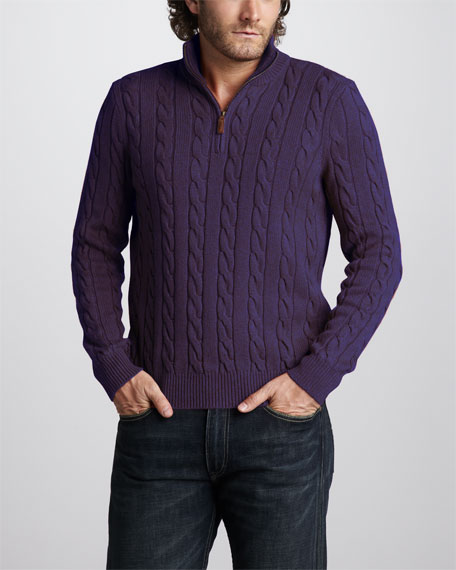 Half-Zip Cable Sweater, Juneberry Heather