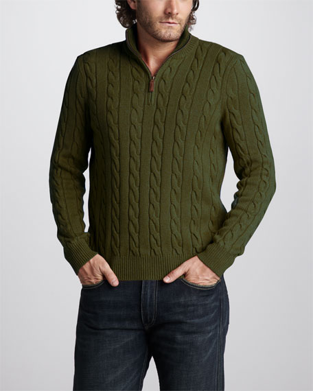 Half-Zip Cable Sweater, Limerick Green Heather