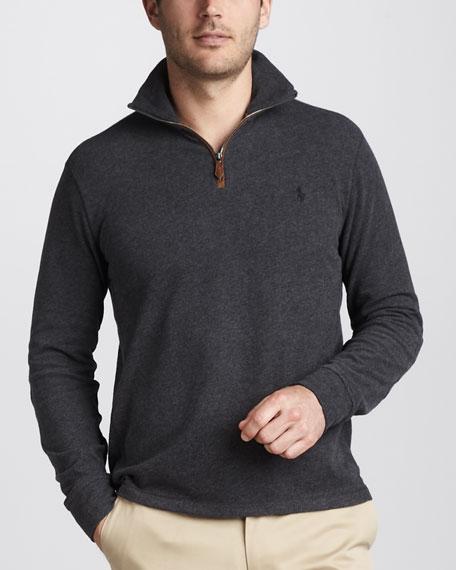 Quarter-Zip Jersey Sweater, Dark Gray Heather