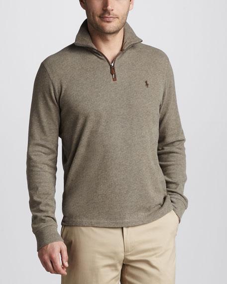 Quarter-Zip Jersey Sweater, New England Heather