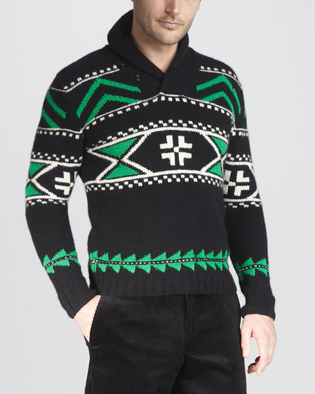 Shawl-Collar Intarsia Sweater