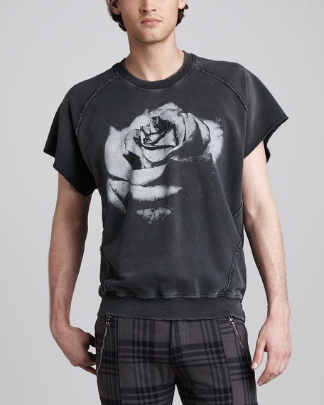 Rose-Print Short-Sleeve Sweatshirt