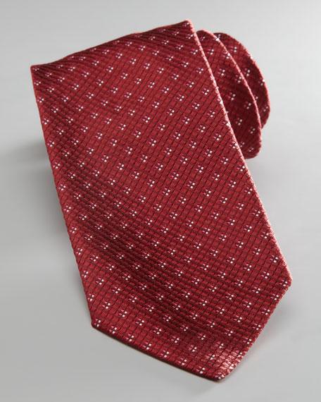 Textured Neat Silk Tie, Red