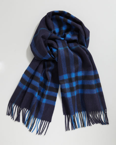 Giant-Check Cashmere Scarf, Bright Cobalt