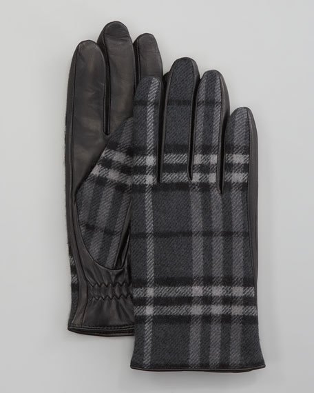 Check Wool/Leather Gloves