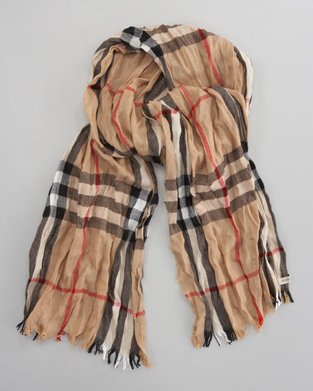 Crinkled Check Scarf, Camel