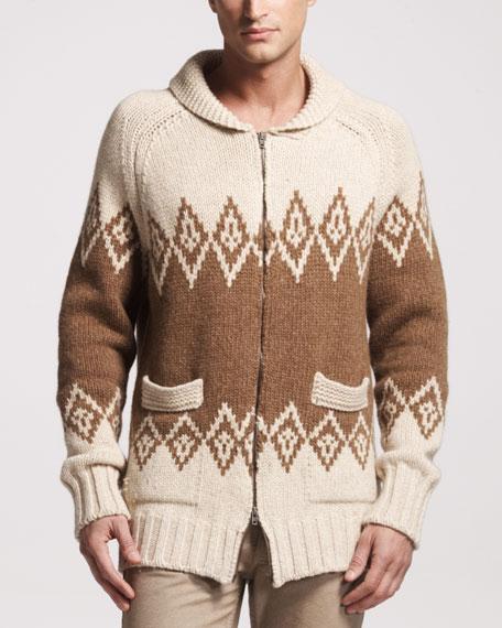 Tribal-Pattern Zip Sweater