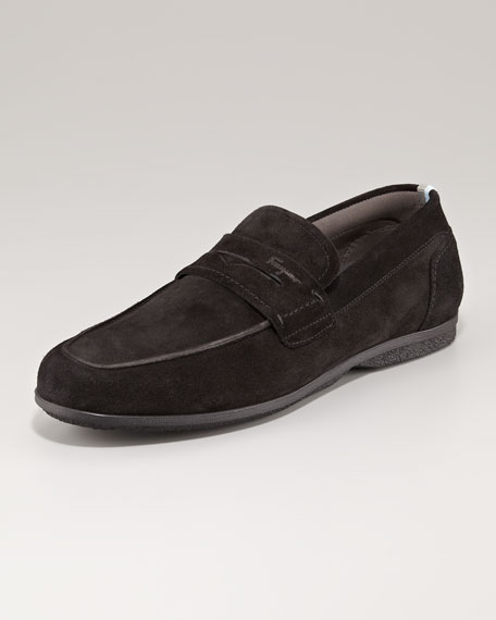Tour 2 Suede Penny Loafer, Black