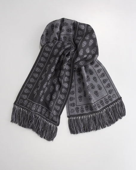 Reversible Skull Scarf, Gray