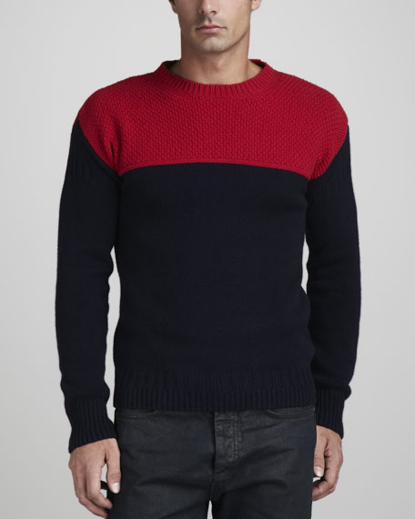 Colorblock Wool-Cashmere Sweater
