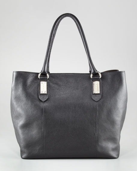 Pebbled Leather Oversized Tote Bag