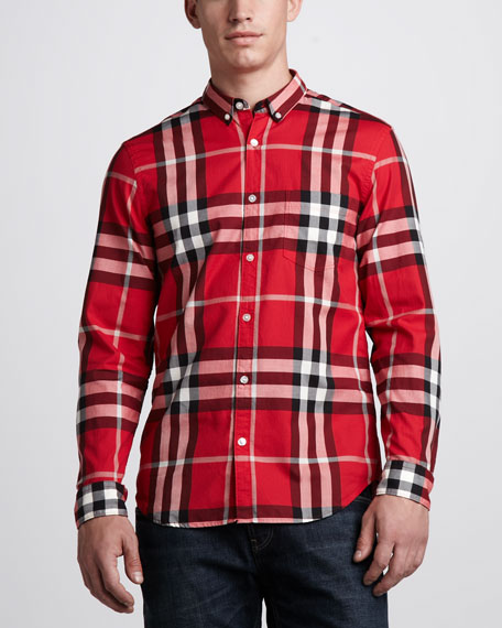 Check Button-Down Shirt, Military Red