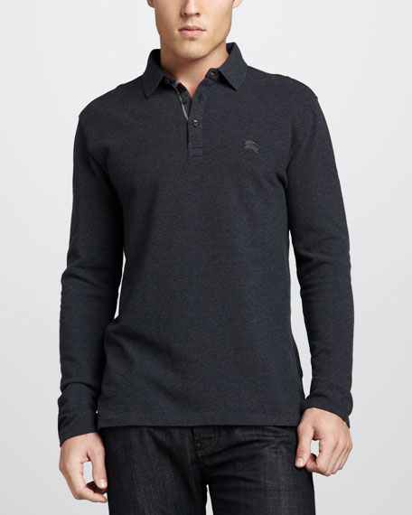 Check-Placket Jersey Polo, Dark Charcoal Melange