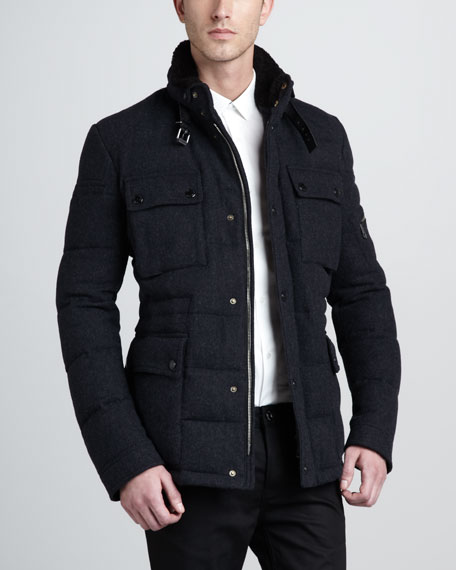 Fur-Collar Quilted Bomber Jacket