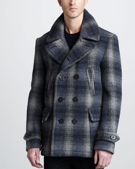 Check Wool-Blend Pea Coat