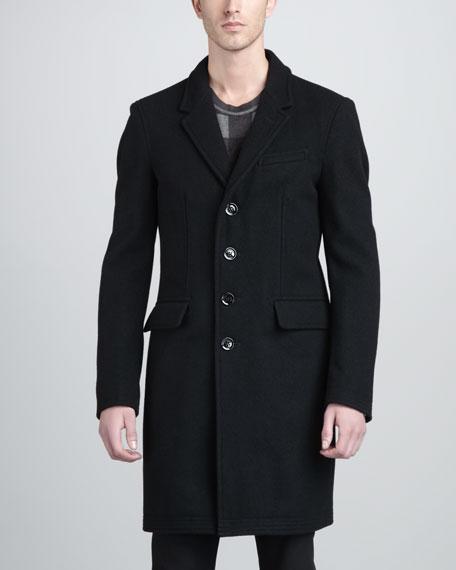 Wool Trapunto-Hem Topcoat