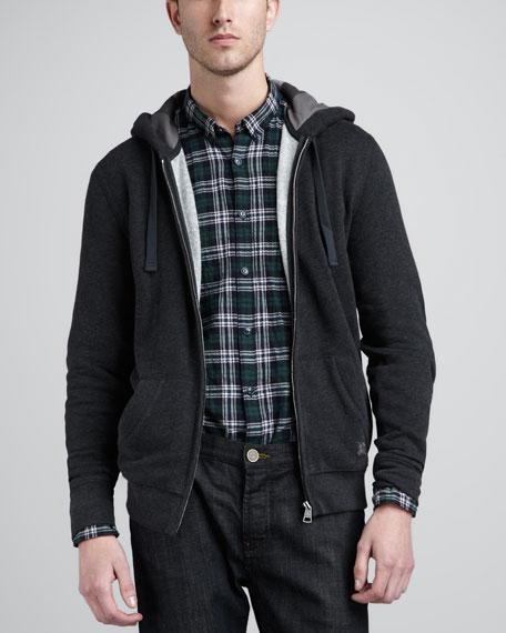 Jersey Zip Hoodie, Dark Charcoal, Melange