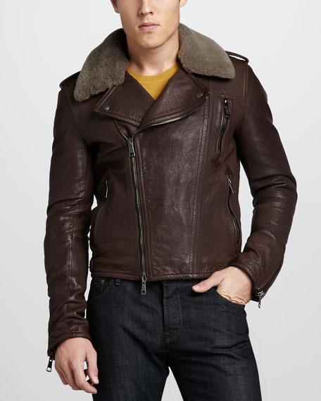 Fur-Collar Leather Bomber Jacket