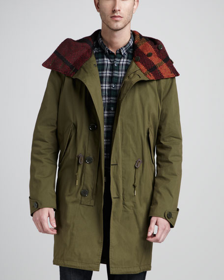 Check-Lined Canvas Parka