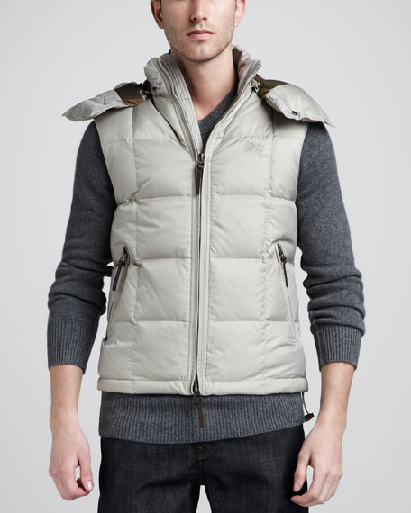 Hooded Puffer Vest, Taupe