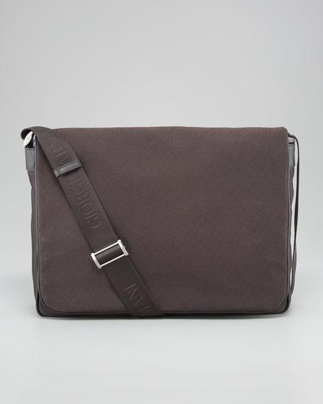 Logo-Print Nylon Flap Messenger Bag