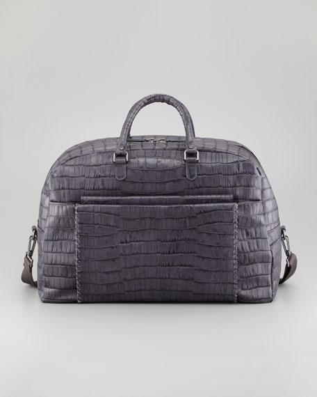 Crocodile-Embossed Weekender Bag