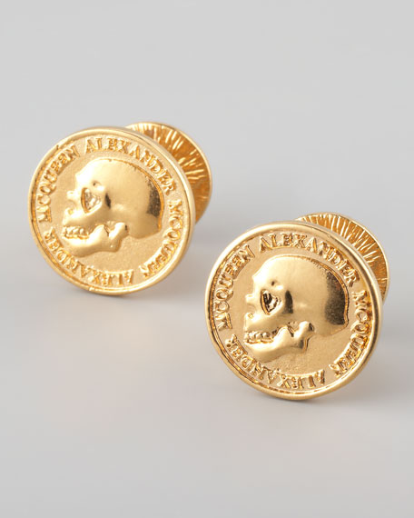 Skull-Embossed Coin Cuff Links