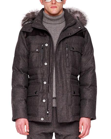 Fox-Trim Flannel Jacket
