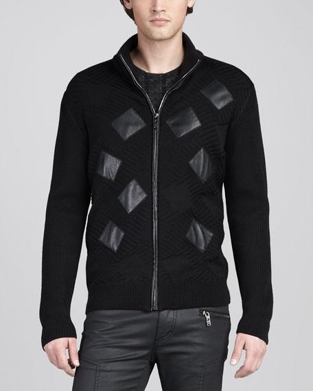 Geometric-Knit Zip Sweater