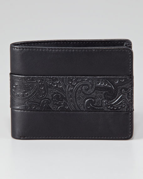 Paisley Leather-Banded Bi-Fold Wallet