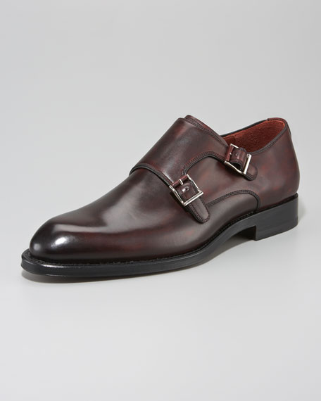 Double Monk-Strap Loafer, Burgundy