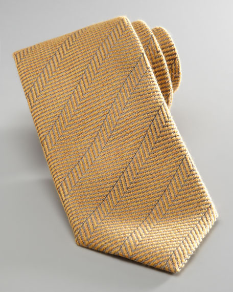 Herringbone Wool-Silk Tie, Yellow