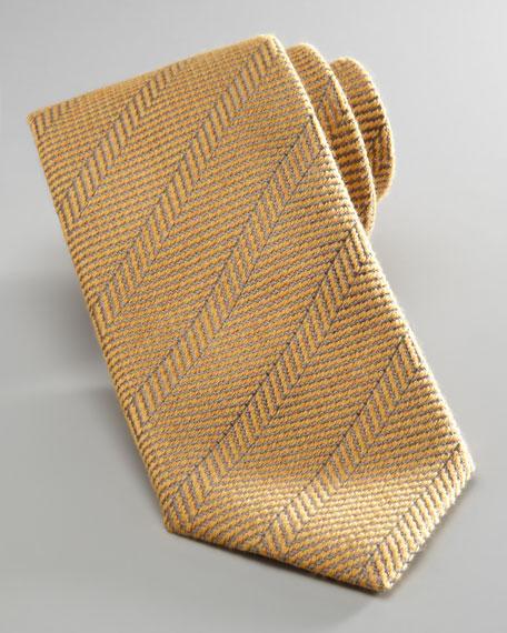 Herringbone Wool-Silk Tie, Yellow
