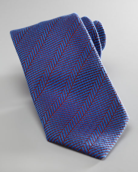 Herringbone Wool-Silk Tie, Blue/Red