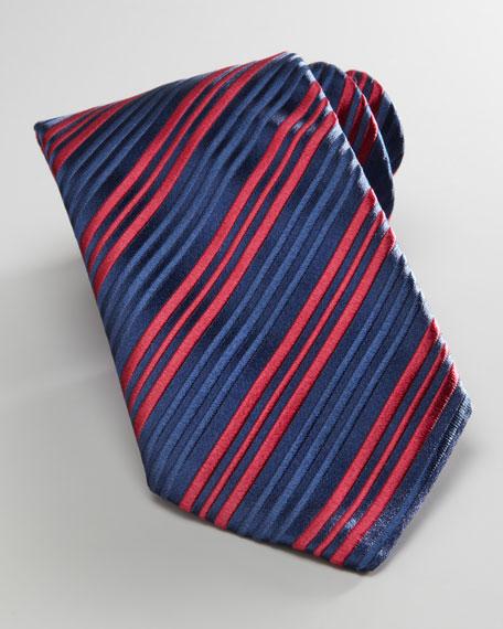 Mini-Stripe Silk Tie, Navy/Burgundy