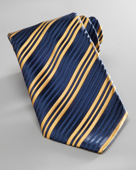 Triple-Stripe Tie, Navy/Yellow