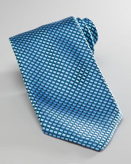 Weave-Pattern Tie, Green/Blue