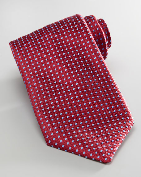 Dashes Tie, Red/Light Blue