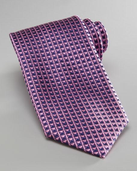Geometric-Print Tie, Pink/Purple