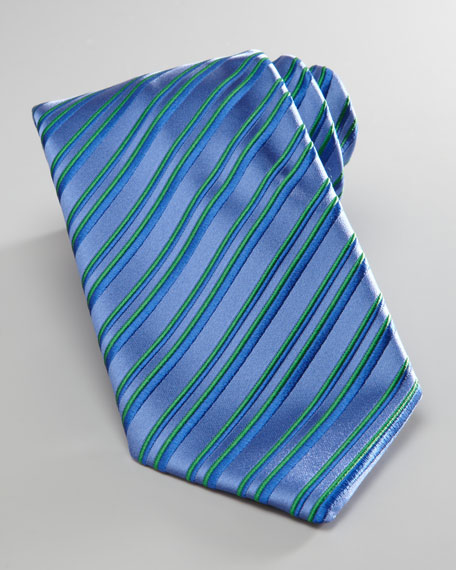 Striped Silk Tie, Blue/Green