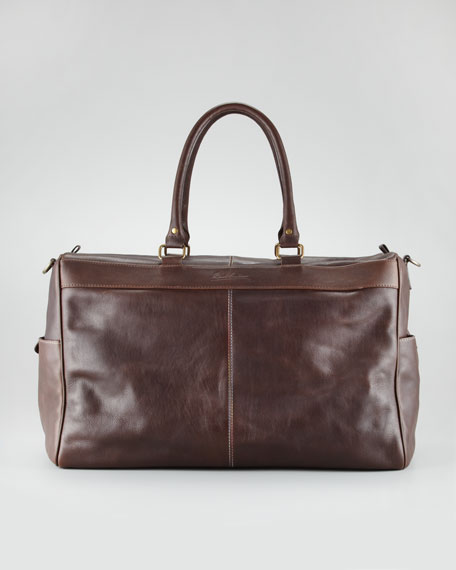 Oates Paisley-Lined Leather Duffel