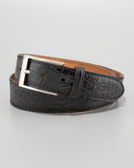 Adamo Crocodile-Stamped Belt, Black