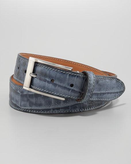 Adamo Crocodile-Stamped Belt, Blue