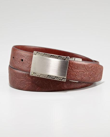 Reversible Paisley Belt, Brown