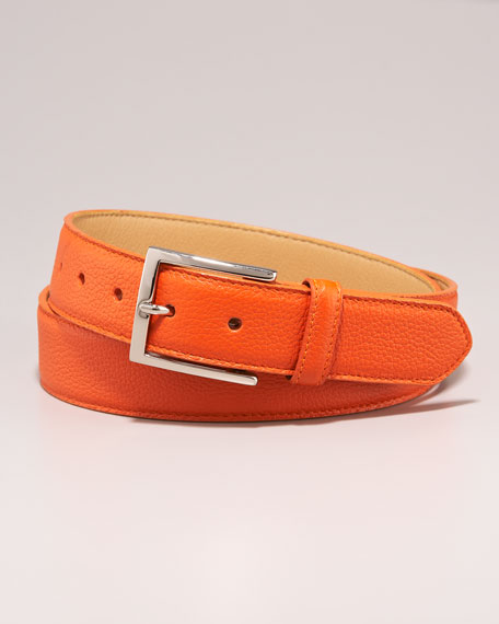 Leather Belt, Orange